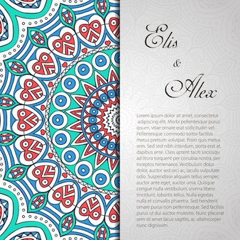 Cute mandala wedding invitation with space for text