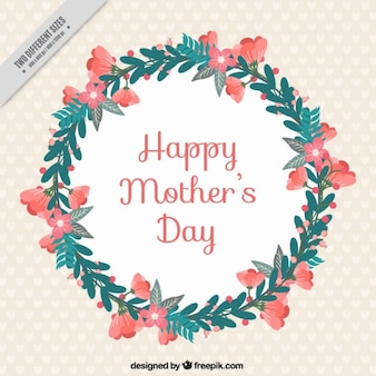 Cute Mother's Day background with a flower wreath