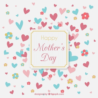 Cute mother's day background with hearts
