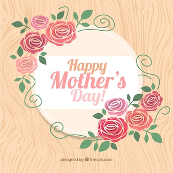 Cute Mother's Day background with wood texture