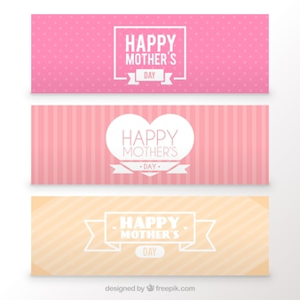 Cute mother's day banners in soft tones