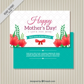 Cute mother's day greeting with red flowers
