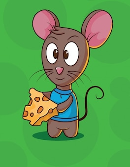 Cute mouse character with cheese