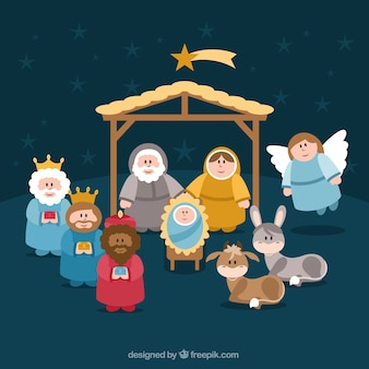 Cute nativity scene characters