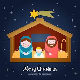 Cute nativity scene in flat design