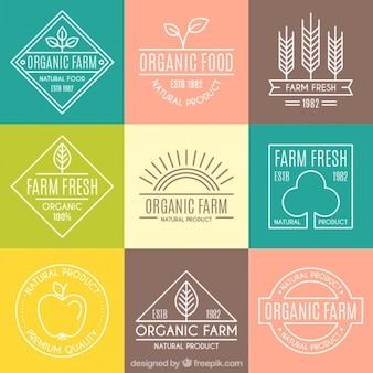 Cute organic logotypes with outline for farm