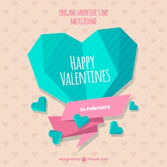 Cute origami valentines day background