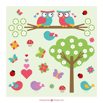 Cute owls, birds and tree