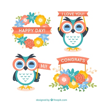 Cute owls and flowers for greetings