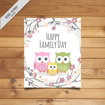 Cute owls family day card