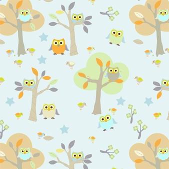 森のシームレスなパターンベクトルでかわいいフクロウ