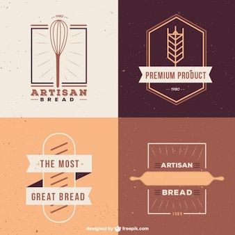 Cute pack of bakery logos in flat design