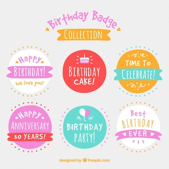 Cute pack of birthday badges