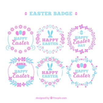 Cute pack of easter badges in pastel colors