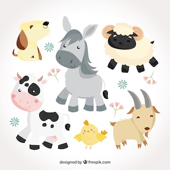 Cute pack of flat baby animals