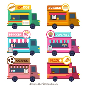Cute pack of flat food trucks