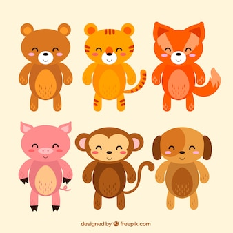 Cute pack of happy animals with flat design