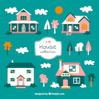Cute pack of houses with pink details