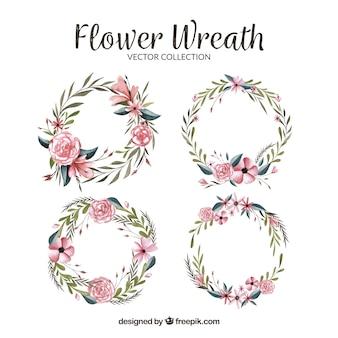 かわいい水彩の花の花輪のパック