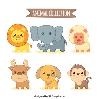 Cute pack with six hand-drawn animals