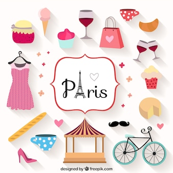 Cute paris city elements
