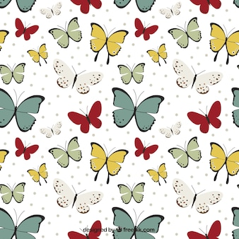 Cute pattern of hand-drawn butterflies
