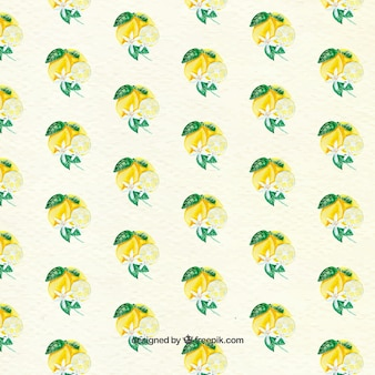 Cute pattern of lemons and decorative flowers