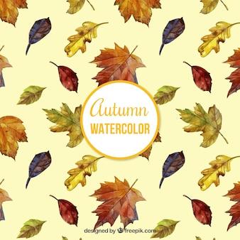 Cute pattern of watercolor leaves