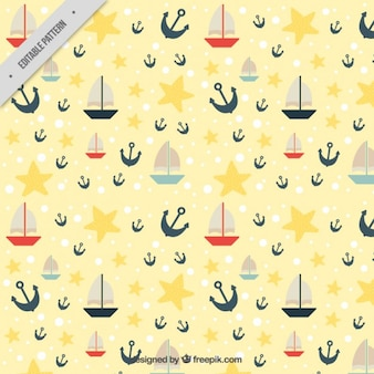 Cute pattern with boat and anchor