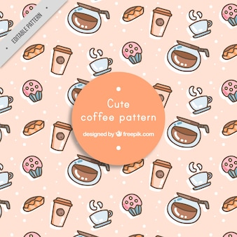 Cute pattern with decorative coffee accessories