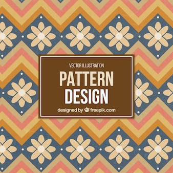 Cute pattern with flowers and zigzag lines