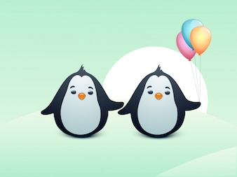 Cute penguins with colorful balloons.