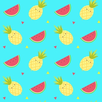 Cute pineapple fruits seamless pattern.fruits background vector template.