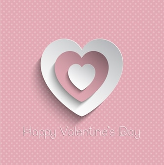 Cute pink heart on a dots background