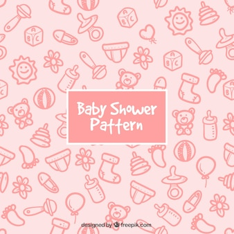 Cute pink pattern with hand-drawn baby elements