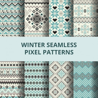 Cute pixel patterns for winter