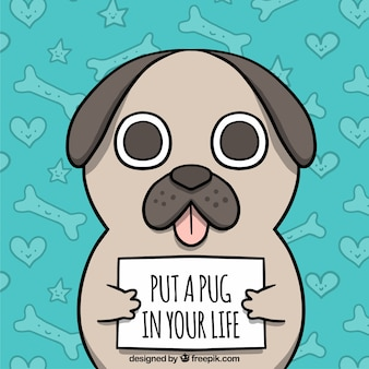 Cute pug with hand drawn style