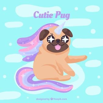 Cute pug with unicorn style