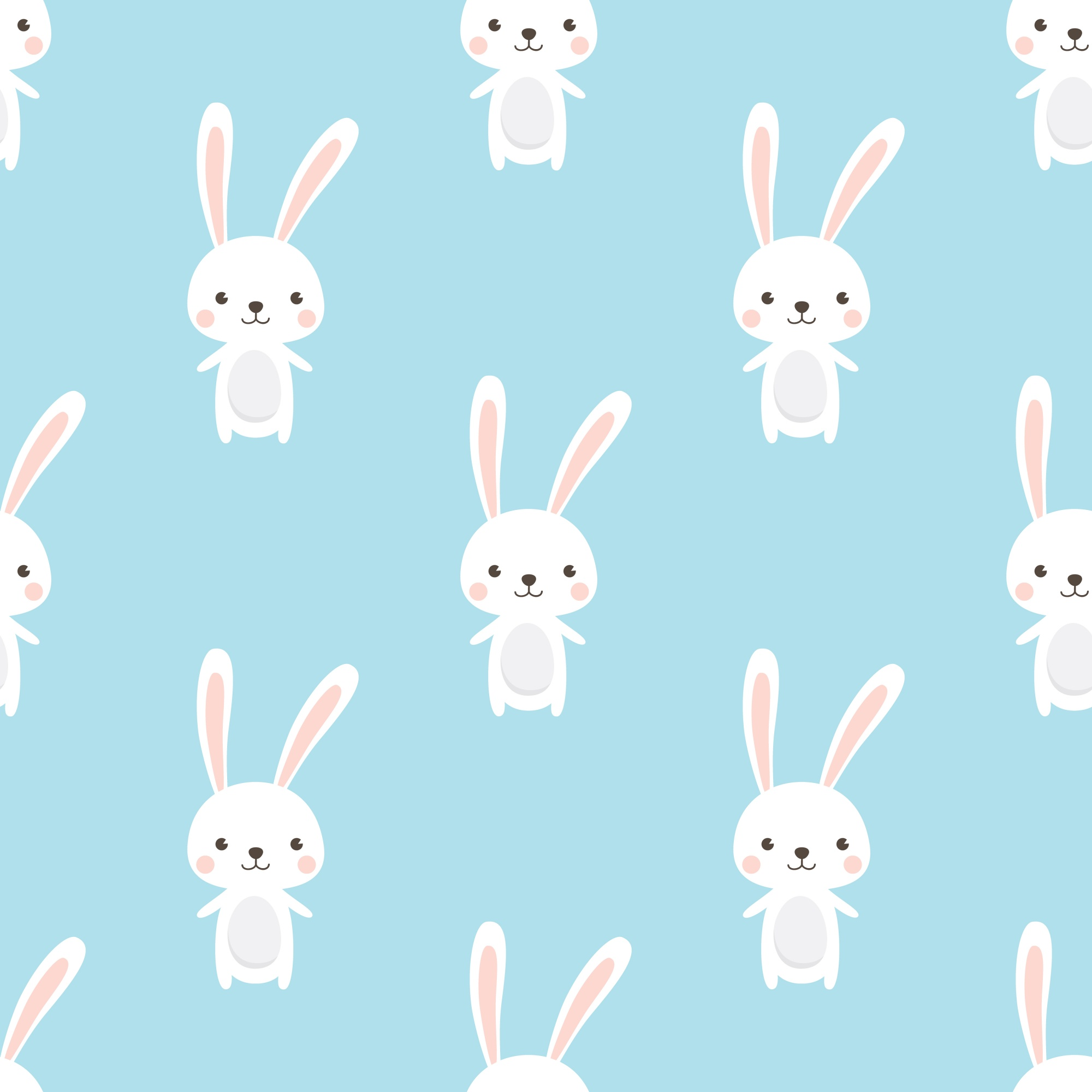 Cute Rabbit character Seamless pattern on sky blue background