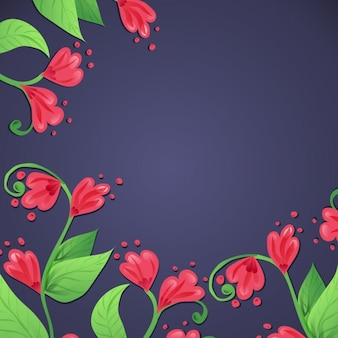 Cute red flowers on a blue background