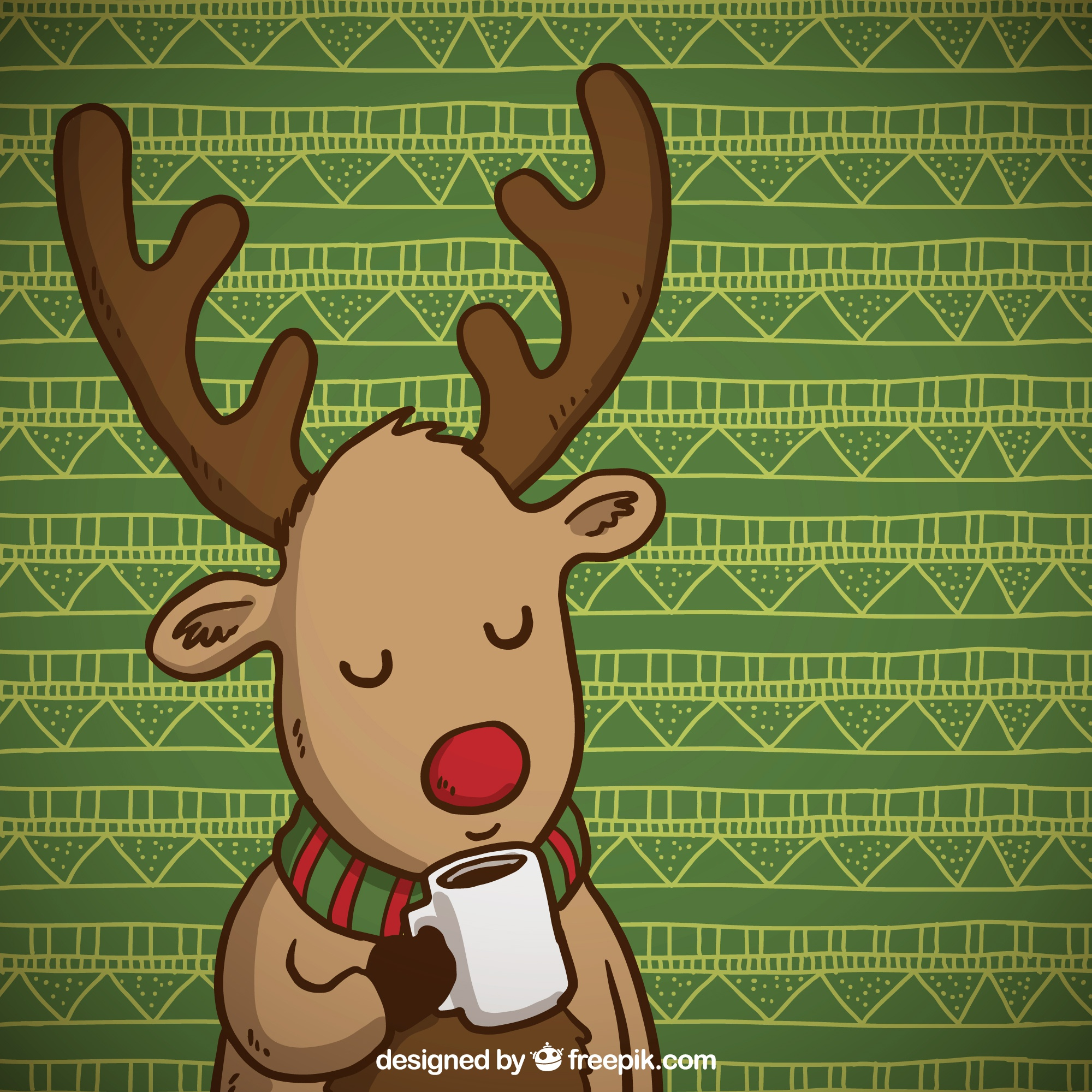 Cute reindeer with a cup of coffee