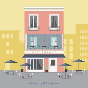 Cute restaurant facade in flat design