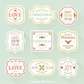 Cute retro christmas labels