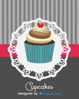Cute Retro Cupcake Design