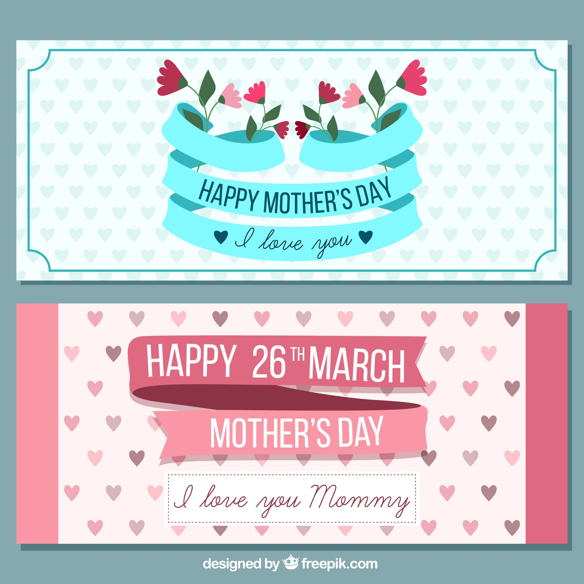 Cute retro happy mother's day banners
