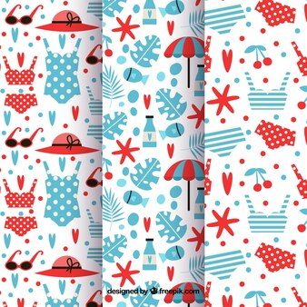 Cute retro patterns of summer elements