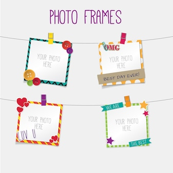 Cute retro photo frames hanging
