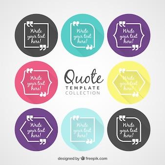 Cute retro quote templates inside colored circles