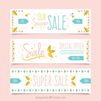 Cute sale banners with shapes in boho style