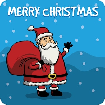 Cute santa claus card in hand drawn style